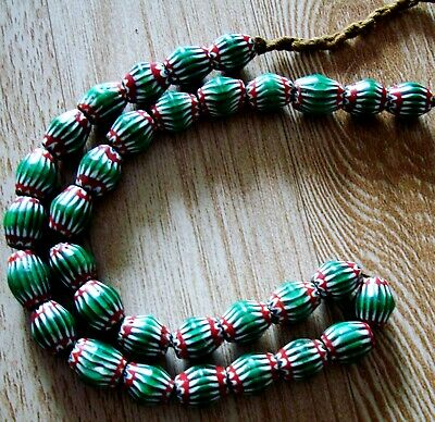 "20"" 32 Bead Antique Phoenician Green, White,Red Six Layer Chevron Glass Necklace 7"