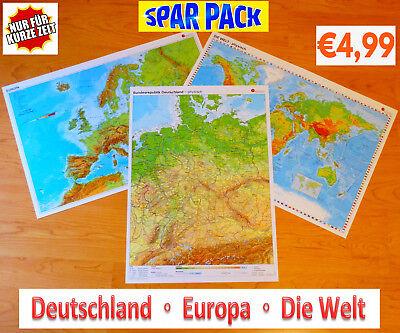 Sparpack Deutschland + Europa + Welt Landkarte Poster Wand Bild A2 Plakat Karte 4