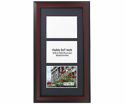 CREATIVEPF 3 OPENING Multi 5x7 Mahogany Picture Frame 10x20 Black ...