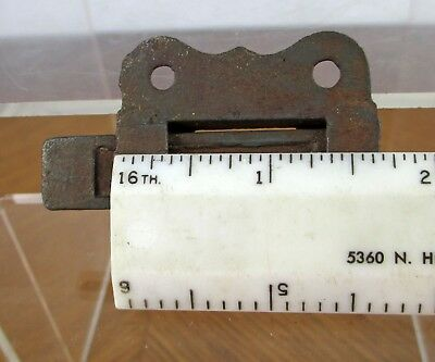 Vintage Small Weathered Iron Metal Eastlake Cabinet Window Slide Latch 7