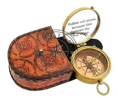 5 Pieces Engraved Brass Compass Maritime Antique Pocket Gift With Leather Case 5