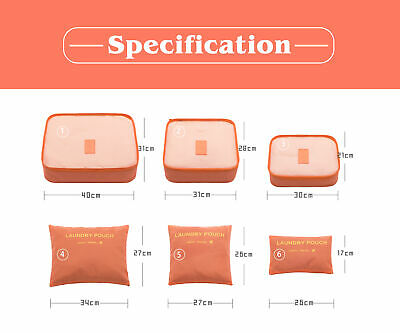 6Pcs Packing Cubes Travel Pouch Luggage Organiser Clothes Suitcase Storage Bags 7