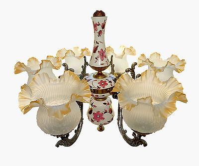 Fabulous Antique 1930 Art Deco/Lalique Art-Glass Style/Porcelain/Gilt Chandelier 10