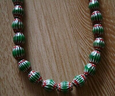 "20"" 32 Bead Antique Phoenician Green, White,Red Six Layer Chevron Glass Necklace 2"