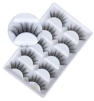 5Pair 3D Mink False Eyelashes Wispy Cross Long Thick Soft Fake Eye Lashes  UK 8