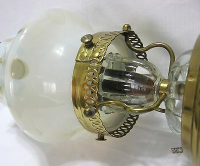 ....VINTAGE 1930s FRENCH OPALESCENT COIN DOT SHADE CEILING LAMP..EXCELLENT 4