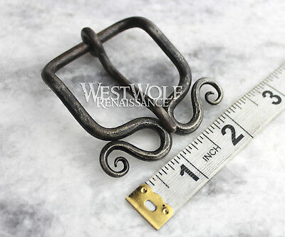 Hand-Forged Viking Belt Buckle with Curled Spirals - Norse/Celtic/Medieval/Steel 3