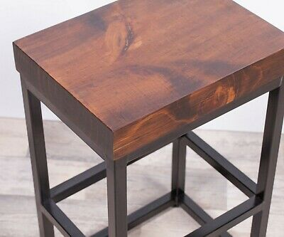 Industrial Metal Black Bar Stool Chunky Rectangle Wooden Top Kitchen Side Table 2