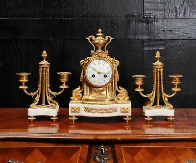 Ormolu and Marble Boudoir Antique French Clock Set by Vincenti C1860 3