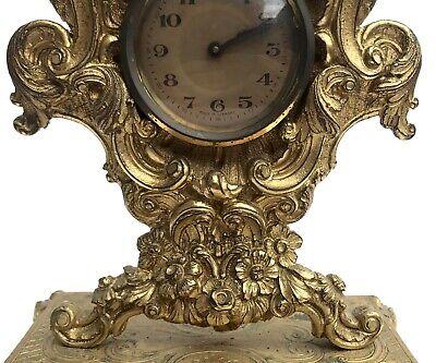 Lovely Antique German Ormolu Strut / Easel Mantel Clock 8