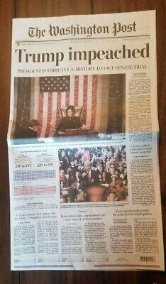 Mint Washington Post Trump Impeached Newspaper 12/19/2019 MAILED FLAT 2