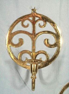 Pair Of Mid Century Modern Fleur De Lis Solid Brass Candle Sconces 2
