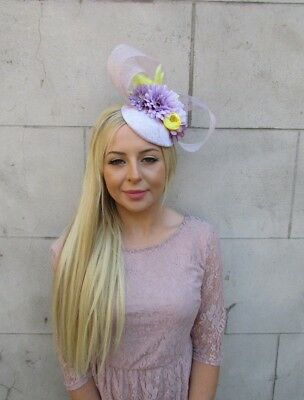 Lilac Lavender Light Purple Yellow Flower Hat Hair Fascinator Races Wedding 5981 2
