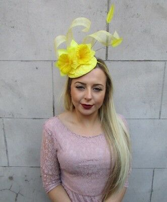 Yellow Daffodil Feather Flower Fascinator Pillbox Hat Races Ascot Floral 5022 2
