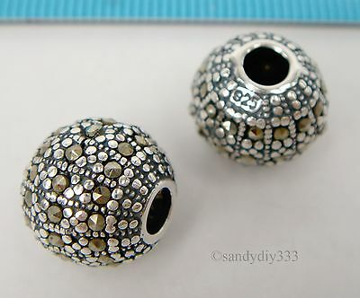1x ANTIQUE STERLING SILVER MARCASITE STONE FLOWER ROUND SPACER BEAD 12mm #1829 2