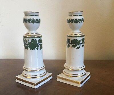 Pair Antique German Meissen Porcelain Candlesticks Green Napoleon Ivy Empire 7
