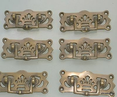 6 small heavy handles aged pull solid brass heavy old vintage style drawer 68 mm 5
