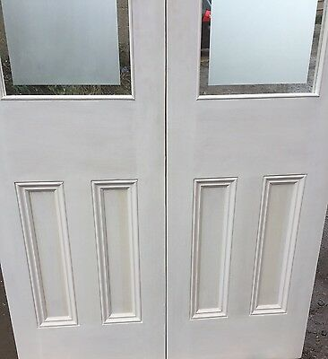 Internal French Door Etched Glass Painted White 4
