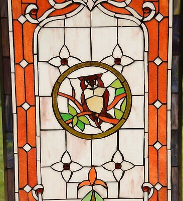 "20"" x 34"" Large Tiffany Style stained glass window panel owl on the tree 3"