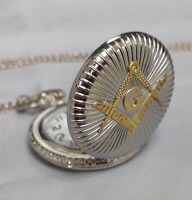 Masonic Silver & Gold Pocket Watch Compass Symbol Unknown Group Temple Lodge UK 3