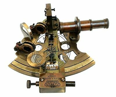 Antique Brass Working Marine Sextant Collectible Vintage Nautical Ship Astrolabe 2