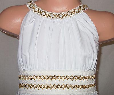 592fbdc3f0 ... GIRLS WHITE GOLD BRAID TRIM GRECIAN FULL LENGTH MAXI DRESS age 2-3 2