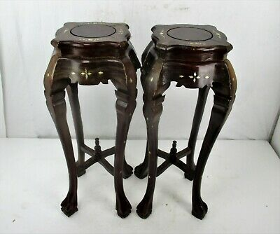 Pair Tall Carved Hard Wood Plant Bonsai Tables Pedestal  Inlay Mother of Pearl 4