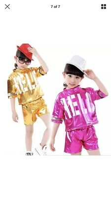 *New* Size 12-13 Years Pink Shiny Shorts And Top Set - Dance / Hip Hop 2