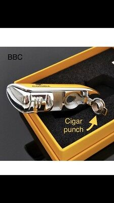 Free Cigar Stand W COHIBA Classic Yellow Torch Triple Jet Flame Lighter Cigars 3