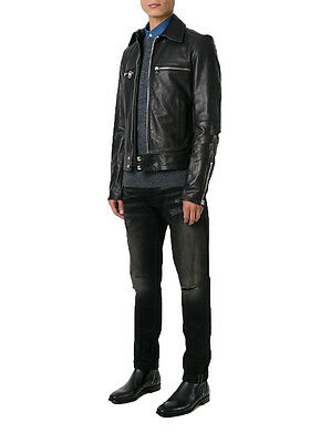 GIACCA GIUBBOTTO IN Pelle Uomo Men Leather Jacket Veste Blouson Homme Cuir R41