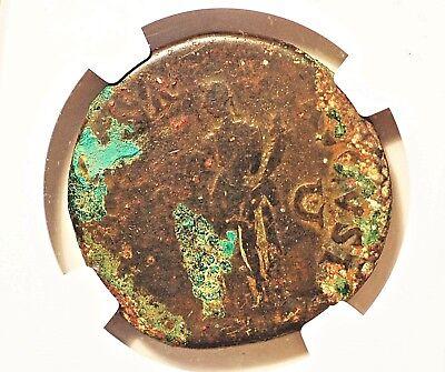 96-98AD.Roman Empire.  NGC cert VG . Nerva   AE Sesterius. RV Fortuna Stg. 8