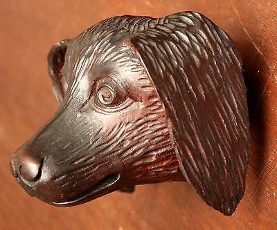 "Part- 19th c Renaissance Victorian carved dog head, walnut, 4""w 10"