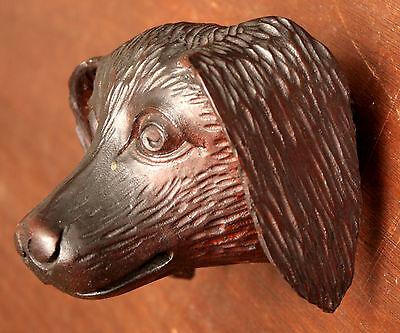"Part- 19th c Renaissance Victorian carved dog head, walnut, 4""w 10"