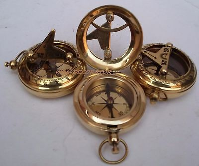 Lot Of 3 Collectible Vintage Maritime Brass Push Button Sundial Pocket Compass 3
