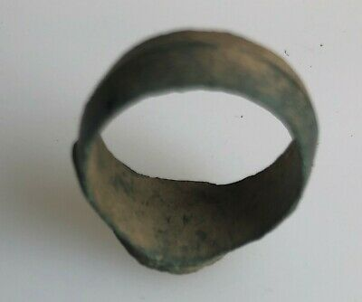 Ancient Artifact > Medieval Bronze Finger Ring SZ: 7 US, 17.25mm VV60C 6