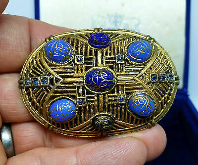 ANTIQUE Art Deco Egyptian Revival Czech Blue Glass Jewel Scarab Cabochon Brooch 3