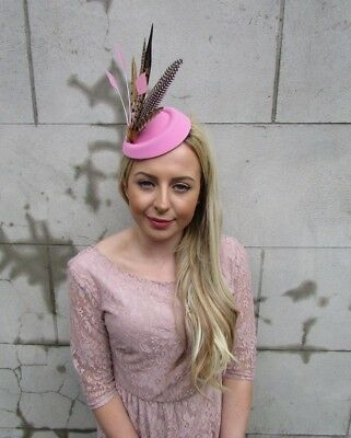 Light Pink Pheasant Feather Pillbox Hat Fascinator Races Hair Clip Ascot 5476 2