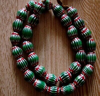 "20"" 32 Bead Antique Phoenician Green, White,Red Six Layer Chevron Glass Necklace 5"