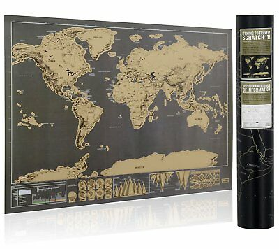 Deluxe Travel Edition Scratch Off World Map Poster Personalized Journal Log 5