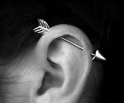1x 2x 10x 14G 31//34//38MM STEEL INDUSTRIAL BARBELLS EAR CARTILAGE PIERCING RINGS