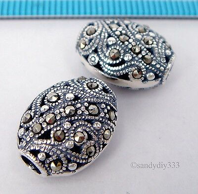 1x ANTIQUE STERLING SILVER MARCASITE STONE FLOWER OVAL SPACER BEAD 14.5mm #1812 2