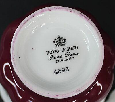 Royal Albert Regal Series Burgundy Footed Cup & Saucer Bone China 4396 Mint 7