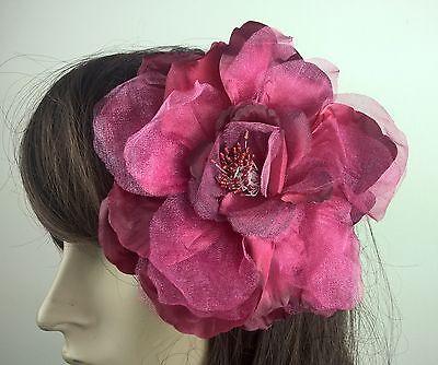 dark red satin flower fascinator millinery burlesque wedding hat bridal race 2