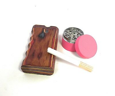 "4"" Colorful Wood Dugout Neon Grinder With Pipe Set EZ Grip Tobacco Herb USA Sell 4"