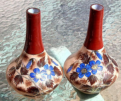 PAIR ANTIQUE GLASS VASE Crown Milano MANTEL GOLD HP ENAMELED MT. WASHINGTON ERA 2