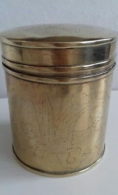 Antique Chinese Brass Hand Engraved Container Box Teapot Caddy. Serpent. 5