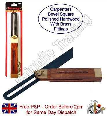 """Hardwood Bevel Brass Carpenter Adjustable Sliding Wood Work 10.5/"""" 265mm"""