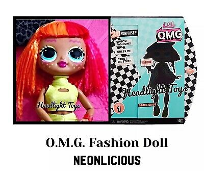 "1 LOL Surprise OMG NEONLICIOUS 10"" Fashion Doll Neon QT Holiday Winter Disco 7"