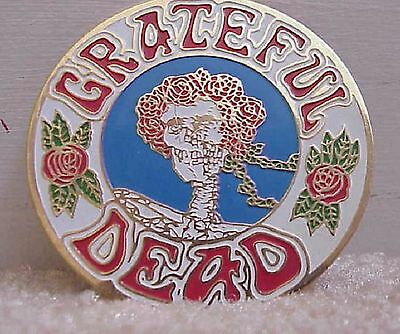 GRATEFUL DEAD  SKULL AND ROSES ' BERTHA '  CLOISSONE PIN 1980's ERA 3