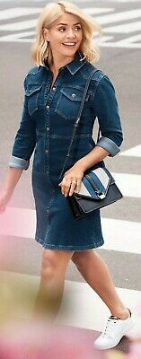 Ladies Denim Mini Holly Willoughby Shirt Dress Added Stretch Sold Out Ex M/&S